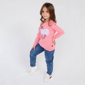 Лонгслив для девочки, цвет светло-розовый, рост 110 см (5)