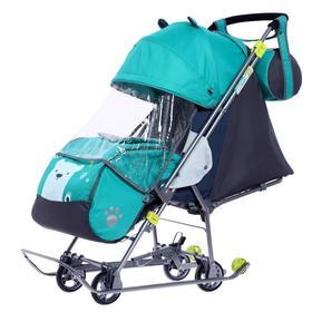 Санки-коляска «Наши детки 4-2», цвет изумрудный с медвежонком