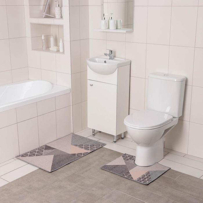 Набор ковриков для ванны и туалета Доляна «Дора», 2 шт: 50×80, 50×40 см