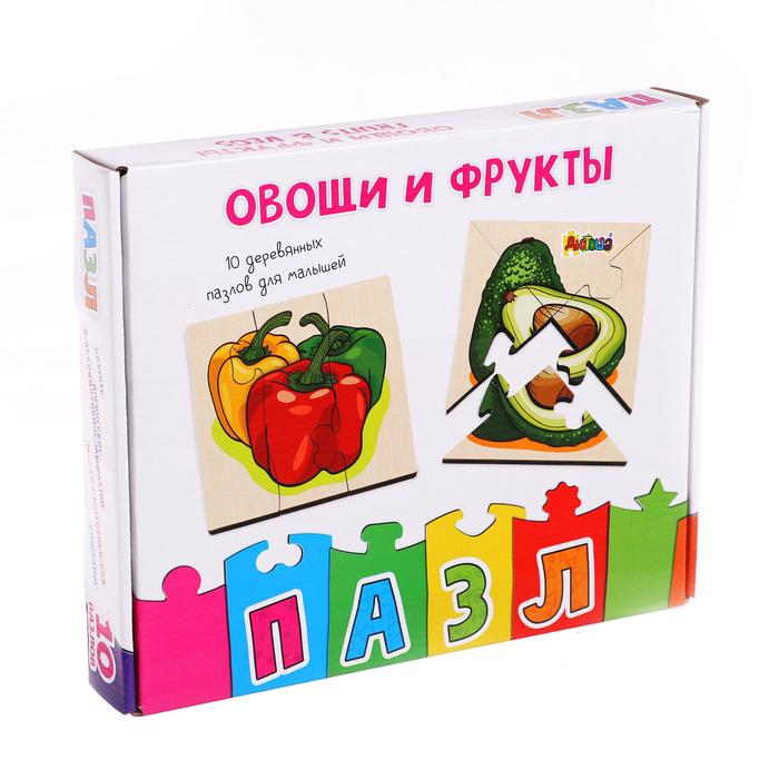 """Фигурные пазлы из дерева """"Овощи и фрукты"""" 10 пазлов в наборе RDI-D800a"""