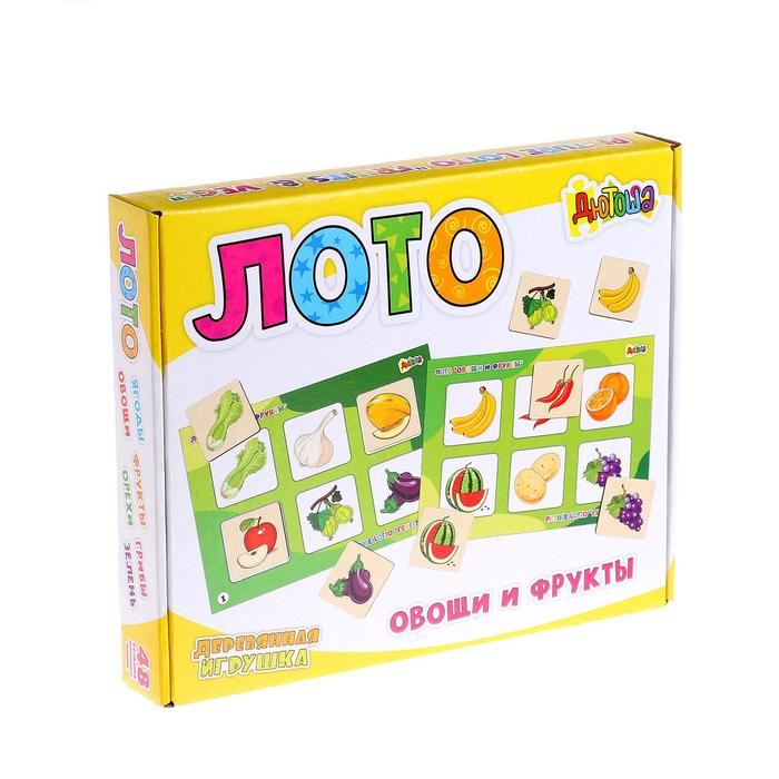 """Лото большое """"Овощи и фрукты"""" (48 деревянных фишек + 8 карточек + мешочек) RDI-D704a"""