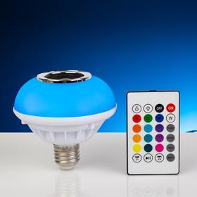 Лампа Световая тарелка, d=10 см, 220V, 4 режима, пульт, музыка, цоколь Е27, RGB