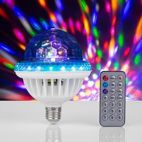 Лампа Хрустальный шар, d=12 см, 220V, вращение, Bluetooth, пульт, музыка, цоколь Е27, RGB