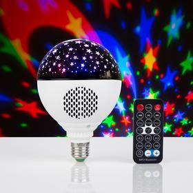 "Лампа ""Праздничная"", d=11 см, 220V, Bluetooth, цоколь Е27, USB, Micro USB, RGB"