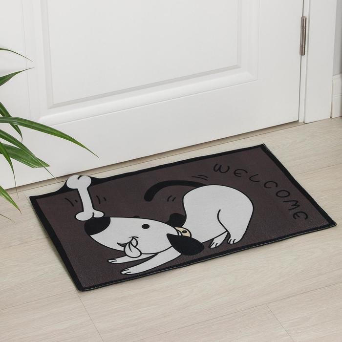 Коврик придверный Доляна «Собака», без окантовки, 39×59 см