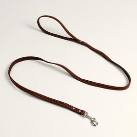 Поводок кожаный однослойный, простроченный, 1.41 м х 1.2 см, коричневый