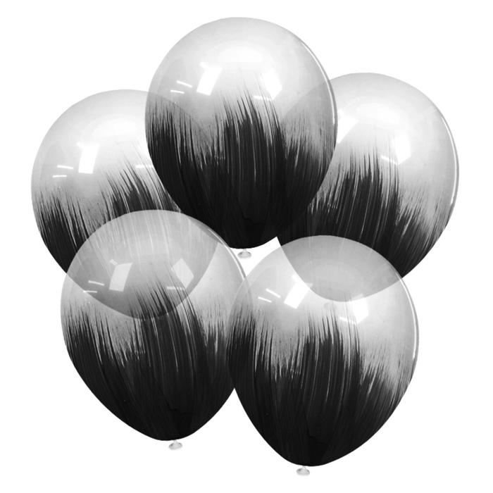 """Шар латексный 12"""" браш, черный, кристалл, набор 5 шт."""