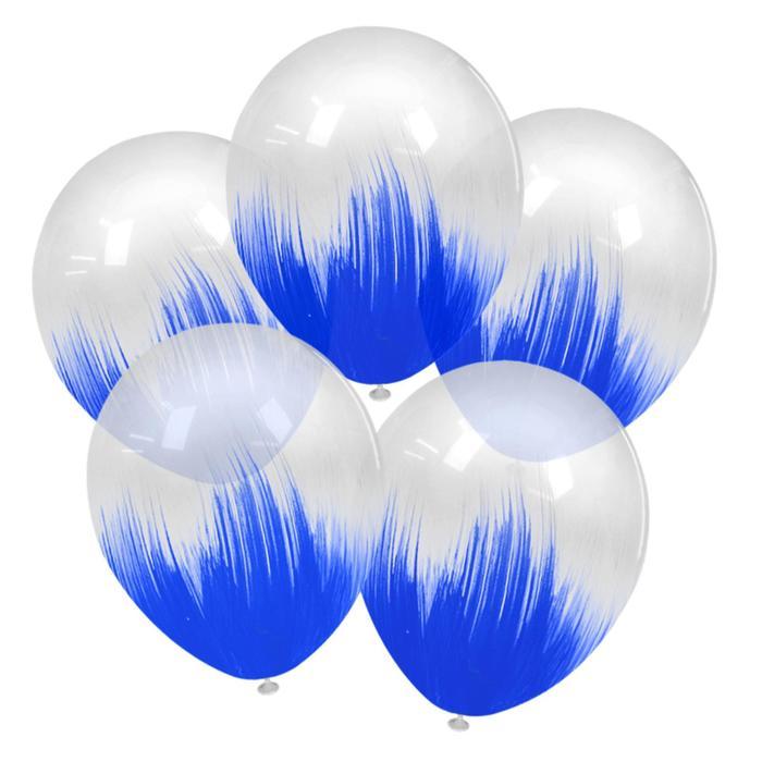 "Шар латексный 12"" браш, синий, кристалл, набор 5 шт."