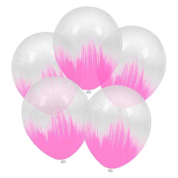 """Шар латексный 12"""" браш, розовый, кристалл, набор 5 шт."""