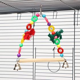 """Игрушка для птиц """"Чудесные качели"""", 10*19 см, микс цветов"""