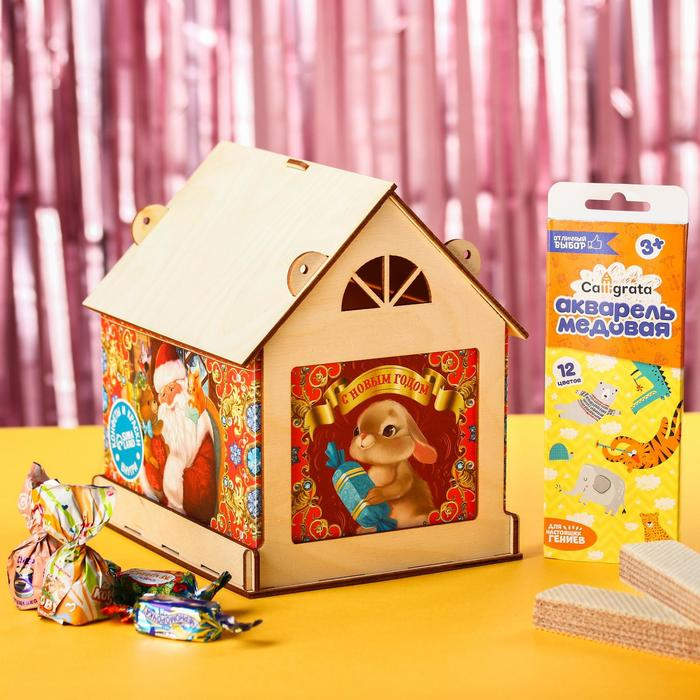 Набор «Новый год»: конфеты 725 г., краски, кормушка