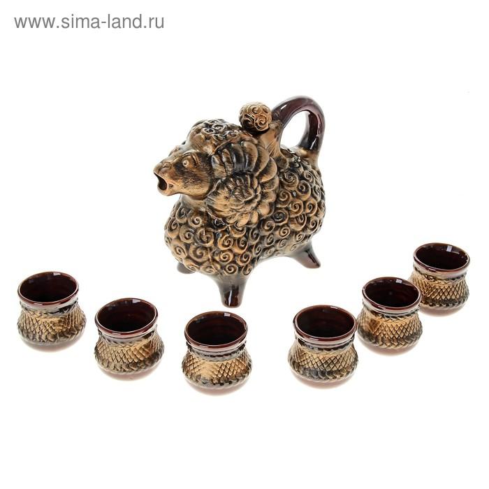 """Штоф с рюмками """"Баран"""" бронза, 7 предметов, 0,7 л"""
