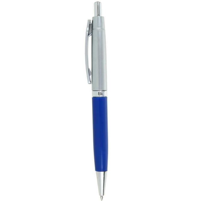 Ручка шариковая автоматическая Лого Прано корпус синий, серебро, стержень синий