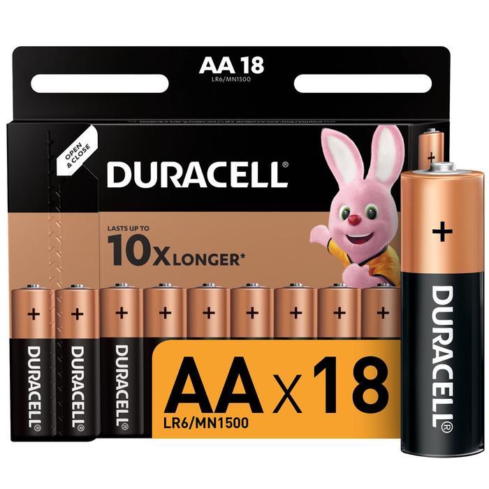 Батарейка алкалиновая Duracell Basic, AA, LR6-18BL, 1.5В, блистер, 18 шт.