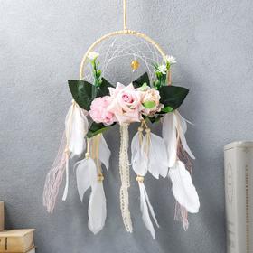 """Ловец снов """"Цветы и белые перья"""" 52х16 см"""