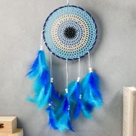 """Ловец снов """"Вязаный с синими перьями"""" 55х20 см"""