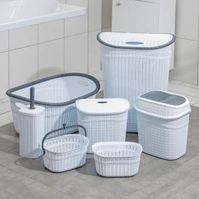 Набор для ванной комнаты, 7 предметов: корзина 4 шт, корзина для белья, ведро для мусора, ёрш МИКС