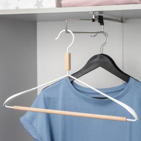 Вешалка для одежды с усиленными плечиками SAVANNA Wood, 42×22×3,2 см, цвет белый