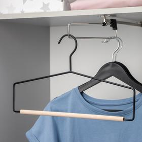 Вешалка для брюк и юбок SAVANNA Wood, 1 перекладина, 37×22×1,5 см, цвет чёрный