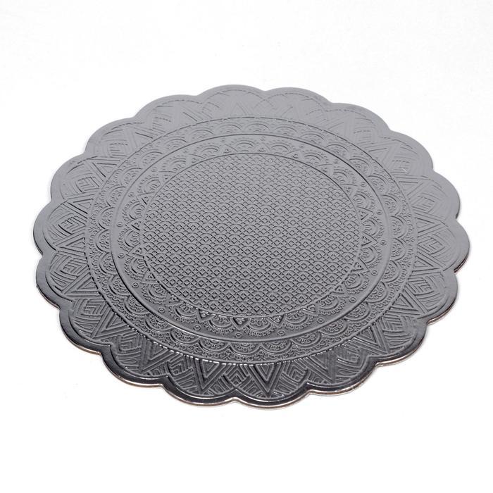 Подложка под торт, волна, серебряная, с тиснением, 20 см, 3 мм - фото 3714313