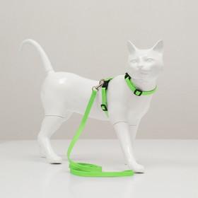 Комплект для кошек, ширина 1 см, ОШ 16,5-27 см, ОГ 21-35 см, поводок 120 см, зелёный