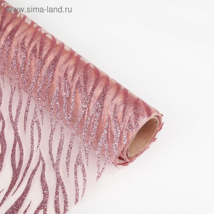 """Органза """"Абстракции"""", персиковый, 0,48 х 4,5 м"""