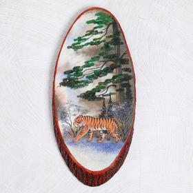 """Панно на спиле """"Зима. Тигр"""", 57-62 см, каменная крошка, вертикальное"""