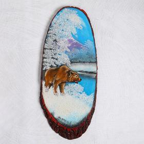 """Панно на спиле """"Зима. Медведь"""", 69-73  см, каменная крошка, вертикальное"""