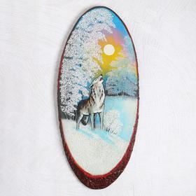 """Панно на спиле """"Зима. Волк"""", 69-73 см, каменная крошка, вертикальное"""
