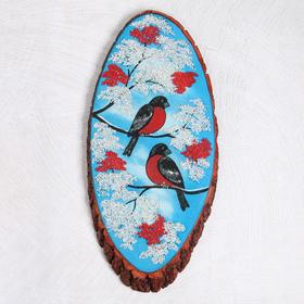 """Панно на спиле """"Зима. Снегири на ветке"""", 63-68 см, каменная крошка, вертикальное"""