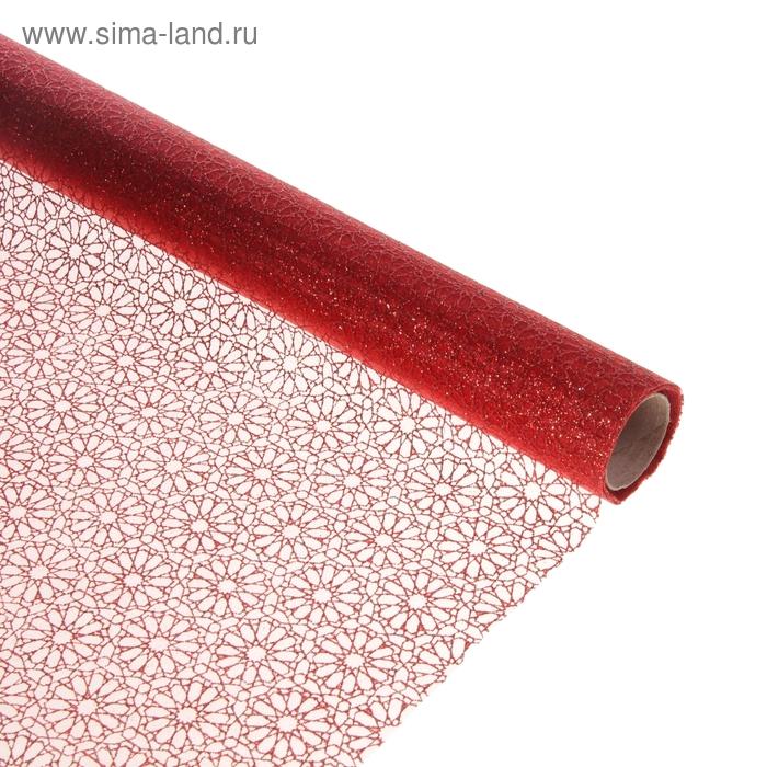 """Органза """"Ромашки"""", цвет красный"""