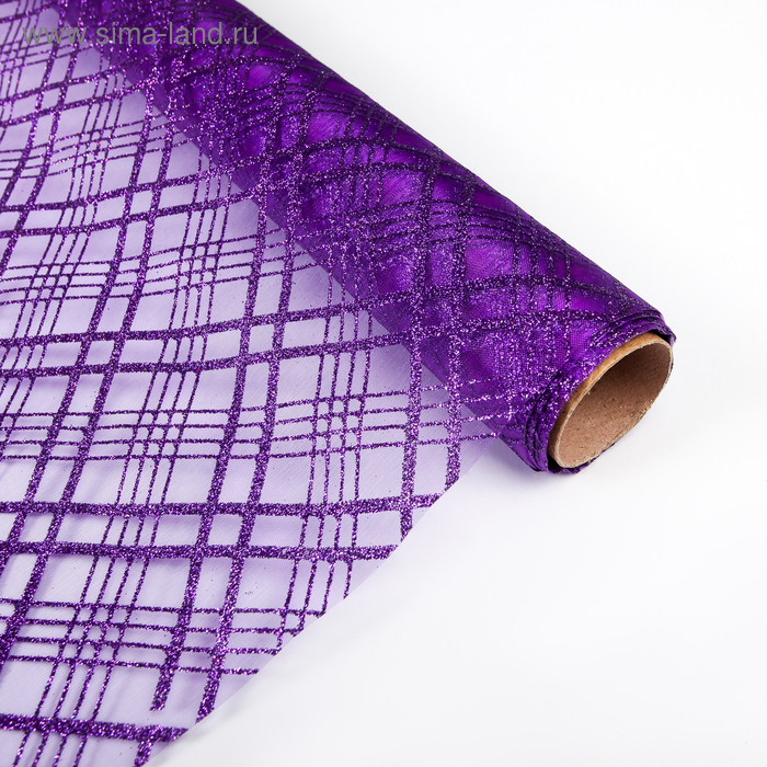 "Органза ""Геометрия"", фиолетовый, 0,48 х 4,5 м"