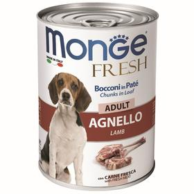 Влажный корм Monge Dog Fresh Chunks in Loaf для собак, рулет из ягненка, 400 г