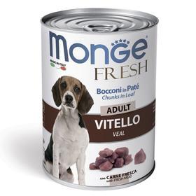 Влажный корм Monge Dog Fresh Chunks in Loaf для собак, мясной рулет из телятины, 400 г
