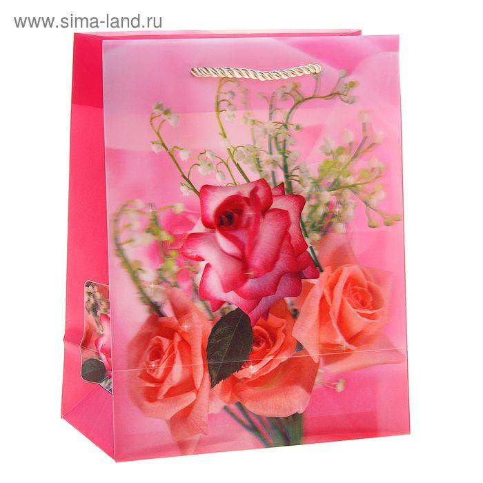 """Пакет пластиковый, 3D рисунок """"Букет роз"""""""