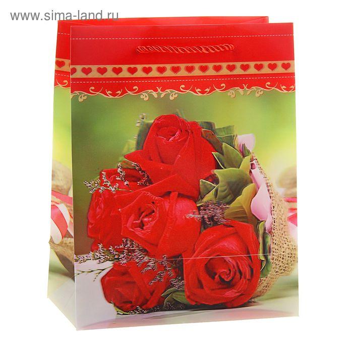 """Пакет пластиковый, 3D рисунок """"Букет красных роз"""""""