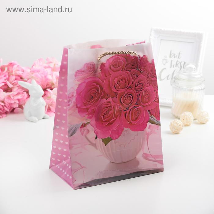 """Пакет пластиковый, 3D рисунок """"Розы в вазе"""""""
