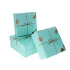 """Набор коробок 3 в 1 """"Посылка"""", голубой, 24,5 х 24,5 х 11,5 - 20,5 х 20,5 х 7 см"""