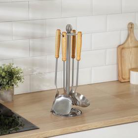 Набор кухонных принадлежностей «Прайм», 6 предметов, на подставке, цвет серебро