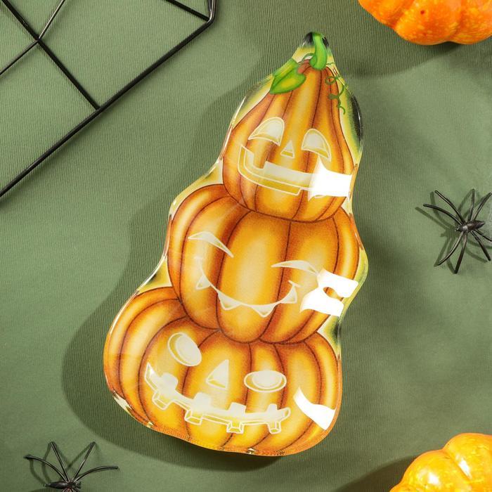 Блюдо сервировочное Доляна «Хэллоуин. Тыквы», 20×11,2×1,8 см