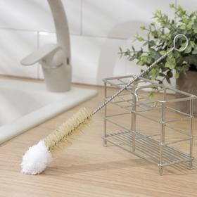 Ёрш для посуды с микрофиброй Доляна, 29×3,5 см, натуральная щетина