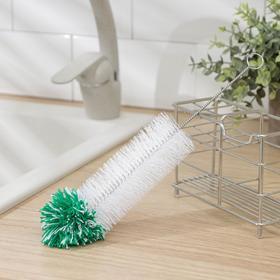 Ёрш для посуды с микрофиброй Доляна, 28×5 см, искуственная щетина