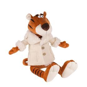 Мягкая игрушка «Тигр Гоша в бежевой дубленке», 25 см