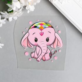"""Термонаклейка """"Розовый слонёнок"""" 7х7 см"""