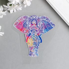 """Термонаклейка """"Индийский слон в узорах"""" 8,1х8 см см"""