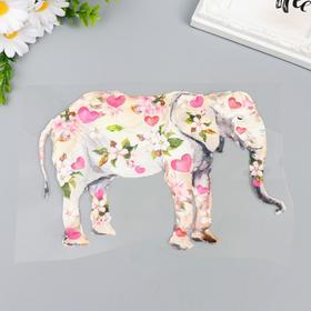 """Термонаклейка """"Слон в цветах и сердечках"""" 16,1х23 см"""