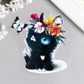 """Термонаклейка """"Чёрный котёнок с цветочным венком и бабочкой"""" 12х12 см"""