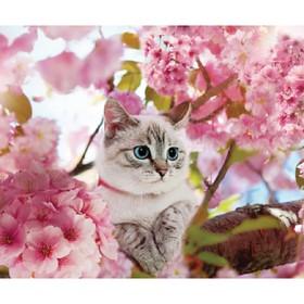 Алмазная вышивка с полным заполнением «Котик на дереве» 50х60 см
