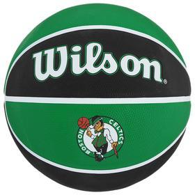 Мяч баскетбольный WILSON NBA Team Tribute Boston Celtics, арт.WTB1300XBBOS, размер 7, резина, бутиловая камера, цвет чёрный/зелёный