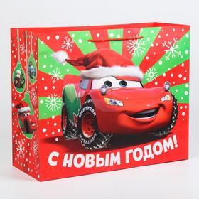 """Пакет ламинат горизонтальный """"С новым годом!"""", Тачки, 49х40х19"""